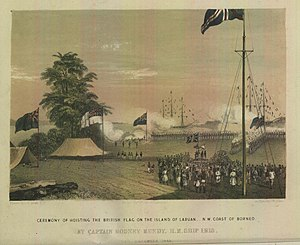 Ceremony of Hoisting the British Flag on the island of Labuan, N. W. Coast of Borneo