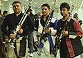 Chain Singh of India won Gold Medal, M. Chowthury of Bangladesh won Silver Medal and Gagan Narang of India won Bronze Medal in Men's 10m Air Rifle individual, at the 12th South Asian Games-2016, in Guwahati.jpg
