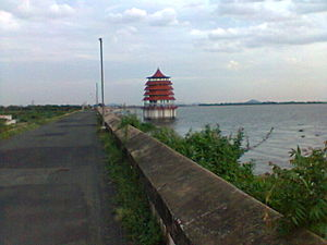 Chembarambakkam Lake - Watch tower in the lake