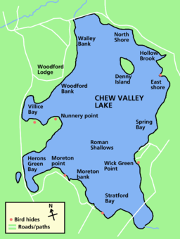 Map of the lake showing the names of bays and inlets