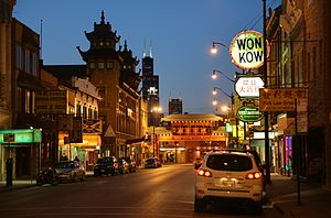 Chinatown, Chicago - Evening along Wentworth Avenue just south of Cermak Road, looking northward