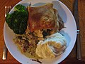 Chicken, Ham, Mushroom & Tarragon Pie with mashed potato and broccoli (15546845853).jpg