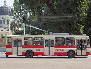Trolleybuses in Chișinău - Škoda 14Tr  on the Piața Marii Adunări Naționale