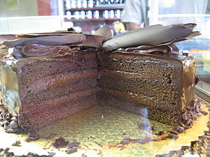 Chocolate cake - Image: Chocolate cake with chocolate frosting topped with chocolate