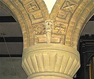 Christ Church, Welshpool - Image: Christ Church, Welshpool. Terracotta detailing on thearch above the limestone Romanesque revival column capital