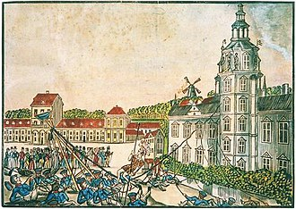 1827 in Denmark - Coloured wood carving depicting the incident when Christian Rost was killedbuilding