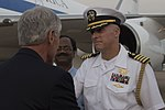 Chuck Hagel greeted by officials at IGI Airport 5.jpg