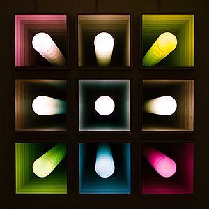 """Chul Hyun Ahn - Chul Hyun Ahn, """"Visual Echo Experiment,"""" 2005, 9 pieces, 104 x 104 x 5.5 inches"""