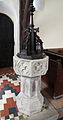 Church of St Andrew, Willingale, Essex, England - interior font.JPG