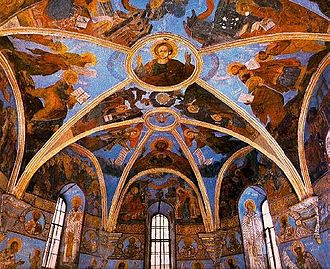 Church of the Saviour at Berestove - Interior view of the church seen with its bright frescos.