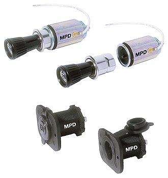 Cigarette lighter receptacle - Metal and plastic cigarette lighter receptacles