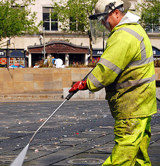 2008 UEFA Cup Final riots - Cleanup in Piccadilly Gardens, the day after the disturbance.