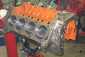 Internal combustion engine - Bare cylinder block of a V8 engine