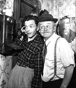 Cliff Arquette - Arquette as Charley Weaver with Dave Willock from the Dave and Charley television program, 1952.