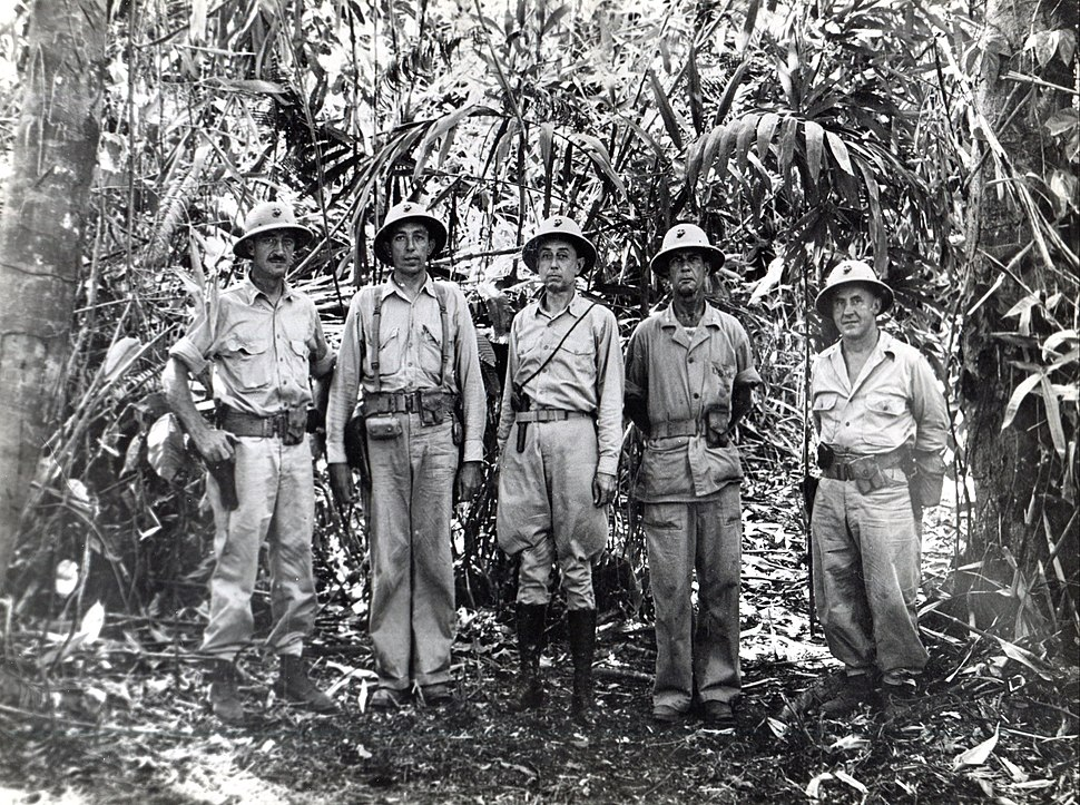 Clifton B. Cates and battalion commanders, 1st Marine Regiment on Guadalcanal, 1942