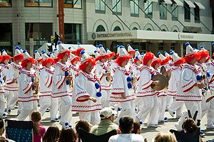 Great Circus Parade - A marching band dressed as clowns