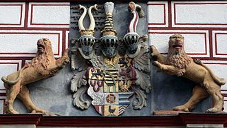Coat of arms at the State House of Coburg Coburg-Stadthaus5.jpg