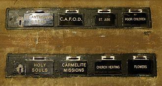 Offertory - Collection boxes, Our Lady of Mount Carmel and St Simon Stock, Kensington, London