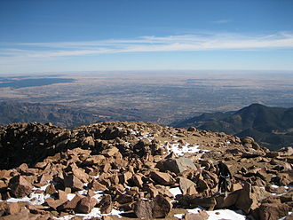 Colorado Springs, Colorado - View of Colorado Springs from Pikes Peak