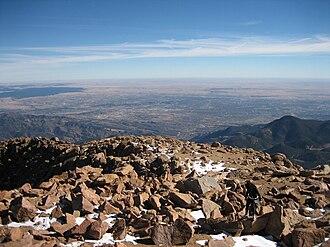 Colorado Springs, Colorado - View of Colorado Springs from Pikes Peak