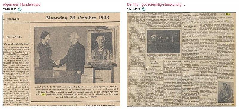 Compilatie van twee krantenberichten met twee soorten persfoto's met kunstwerken uit de jaren 1930.jpg