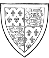 Fig. 720.—Thomas of Woodstock, Earl of Buckingham, seventh son of Edward III.: France (ancient) and England quarterly, a bordure argent. (From a drawing of his seal, 1391, MS. Cott., Julius, C. vii.)