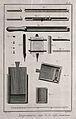 Composing-sticks, formes, and chases for typesetting. Engrav Wellcome V0023763ER.jpg
