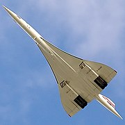 Concorde's final flight, G-BOAF from Heathrow to Bristol, on 26 November 2003. The extremely high fineness ratio of the fuselage is evident