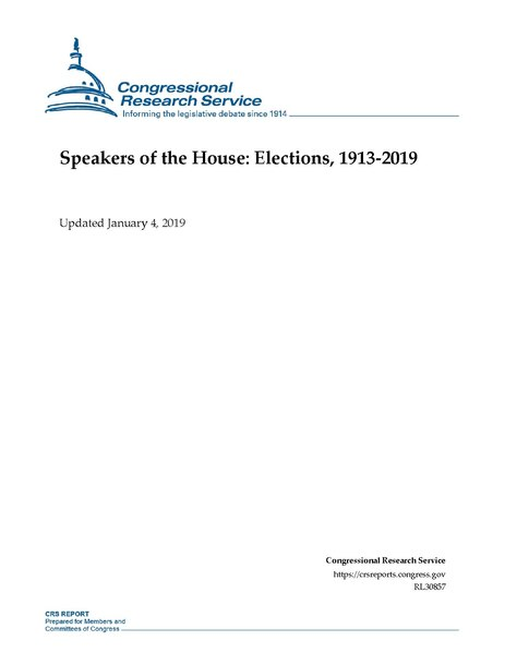 File:Congressional Research Service Report RL30857 - Speakers of the House - Elections, 1913-2019.pdf