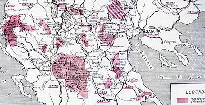 Mappa delle aree popolate da Arumeni (Aromani/Vlachs) a metà Novecento in Grecia, Albania e Macedonia