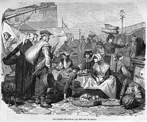 End of Basque home rule in Spain - Market day in Bilbao (1866)