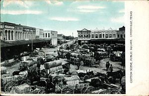 Greenville, Texas - Cotton scene, public square, Greenville, Texas (postcard, circa 1908)