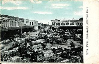 Greenville, Texas - Cotton scene, public square, Greenville, Texas (postcard, circa 1908)