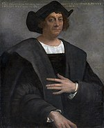 Christopher Columbus, conjectural image by Sebastiano del Piombo in the Gallery of Illustrious Men (Corridoio Vasariano), Uffizi, Florence.
