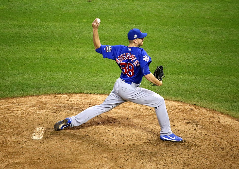 Cubs reliever Mike Montgomery delivers a pitch in the 10th inning of World Series Game 7. (30630165672)