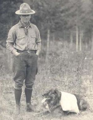 "Donald ""Curly"" Phillips - Curly Phillips with his dog, Jasper, Alberta"