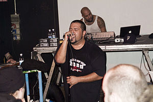 Dälek - MC dälek (front) and Oktopus (back) performing at the Leoncavallo cultural center in Milan in 2008