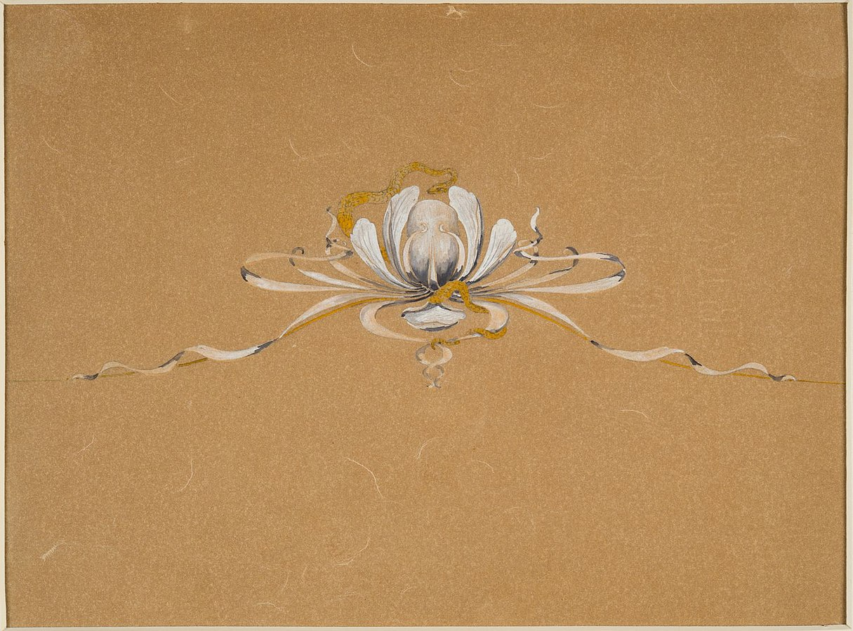 """Design drawing for a tiara """"Water Lily and Snake"""" or """"Snake and Water Lily"""""""