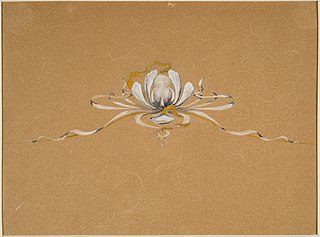 "Design drawing for a tiara ""Water Lily and Snake"" or ""Snake and Water Lily"""