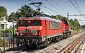 DB Cargo 1614 storming through Dordrecht-Zuid railway station with a DB Cargo 6400 (37767762875).jpg