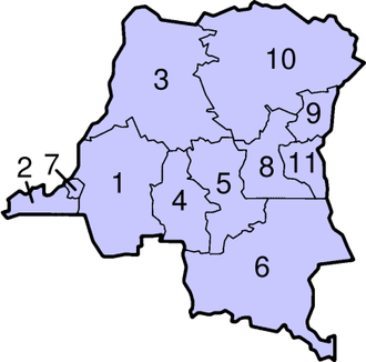 Provinces of the Democratic Republic of the Congo - Image: D Congo Numbered