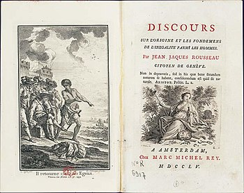 Page de garde du �Discours sur l'origine et les fondements de l'in�galit� parmi les hommes � de Jean-Jacques Rousseau, fruit d'un concours lanc� par l'Acad�mie de Dijon