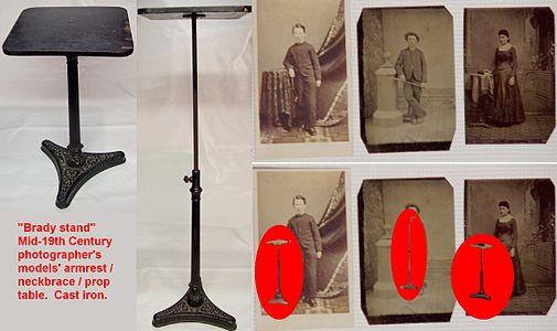 Daguerreotype tintype photographer model studio table brady stand cast iron portrait photos