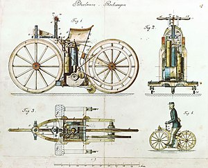 Twistgrip - Drawings from 1884 showed a twist grip belt tensioner, complex steering linkage and used a belt drive. The working model had a simple handlebar and used a pinion gear drive.