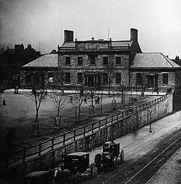 The original Dalhousie College building in 1871. The university was situated at the Grand Parade until it moved in 1886. Dalhousie College Halifax Canada 1871.jpg