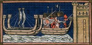 Die Kreuzfahrer unter Ludwig IX. dem Heiligen greifen Damiette an. Darstellung aus den Chroniques de Saint-Denis, 14. Jahrhundert.