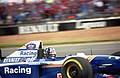 Damon Hill - Williams FW17 accelerates out of the pit lane at the 1995 Britsh GP, Silverstone (49716760501).jpg