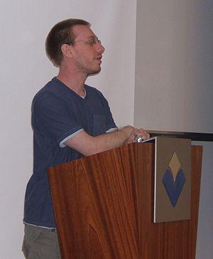 Daniel Tammet giving a speech at Reykjavík Uni...