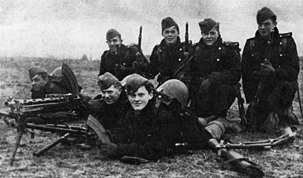 A group of Danish soldiers on the morning of the German invasion, 9 April 1940. Two of these men were killed later that day. Danish soldiers on 9 April 1940.jpg