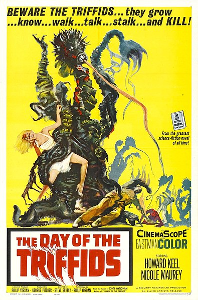 "trifidi poster triffids Poster del film ""//Il Giorno dei Trifidi//"" - illustrazione di Reynold Brown //The Day of the Triffids// di John Wyndham (1962) © Allied Artists, US Publication"